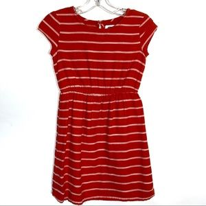 Girls Red Orange with Stripes Dress